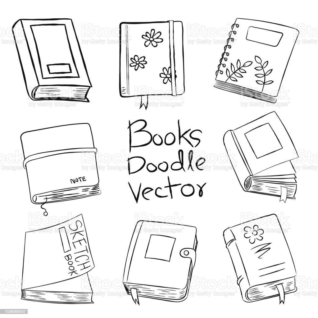 本の落書きベクトル手描きイラスト いたずら書きのベクターアート素材