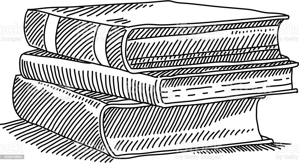 Books Drawing vector art illustration