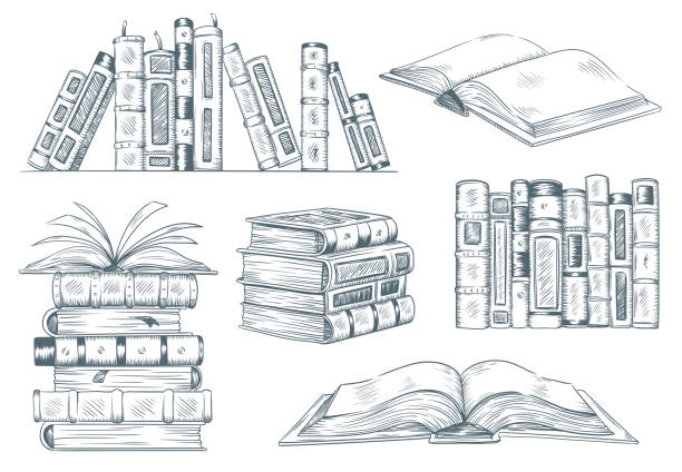 Books engraving. Vintage open book engrave sketch drawn. Hand drawing student reading textbook vector illustration Books engraving. Vintage open book engrave sketch drawn. Hand drawing student reading textbook. Sketched notebook or literature library books sketching. Vector illustration isolated signs set book drawings stock illustrations