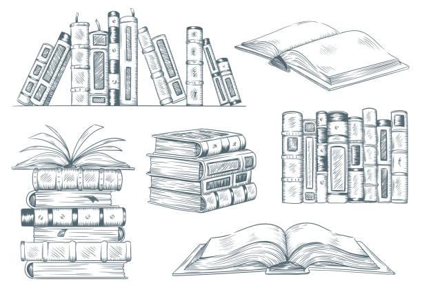 ilustrações de stock, clip art, desenhos animados e ícones de books engraving. vintage open book engrave sketch drawn. hand drawing student reading textbook vector illustration - livro