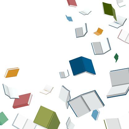 Books falling down vector illustration for banner and header