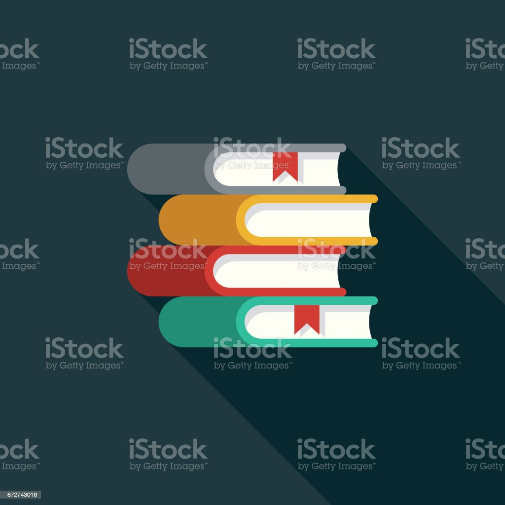Books Flat Design Education Icon with Side Shadow vector art illustration