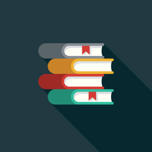 books flat design education icon with side shadow - book clipart stock illustrations
