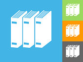 Books  Flat Icon on Blue Background. The icon is depicted on Blue Background. There are three more background color variations included in this file. The icon is rendered in white color and the background is blue.