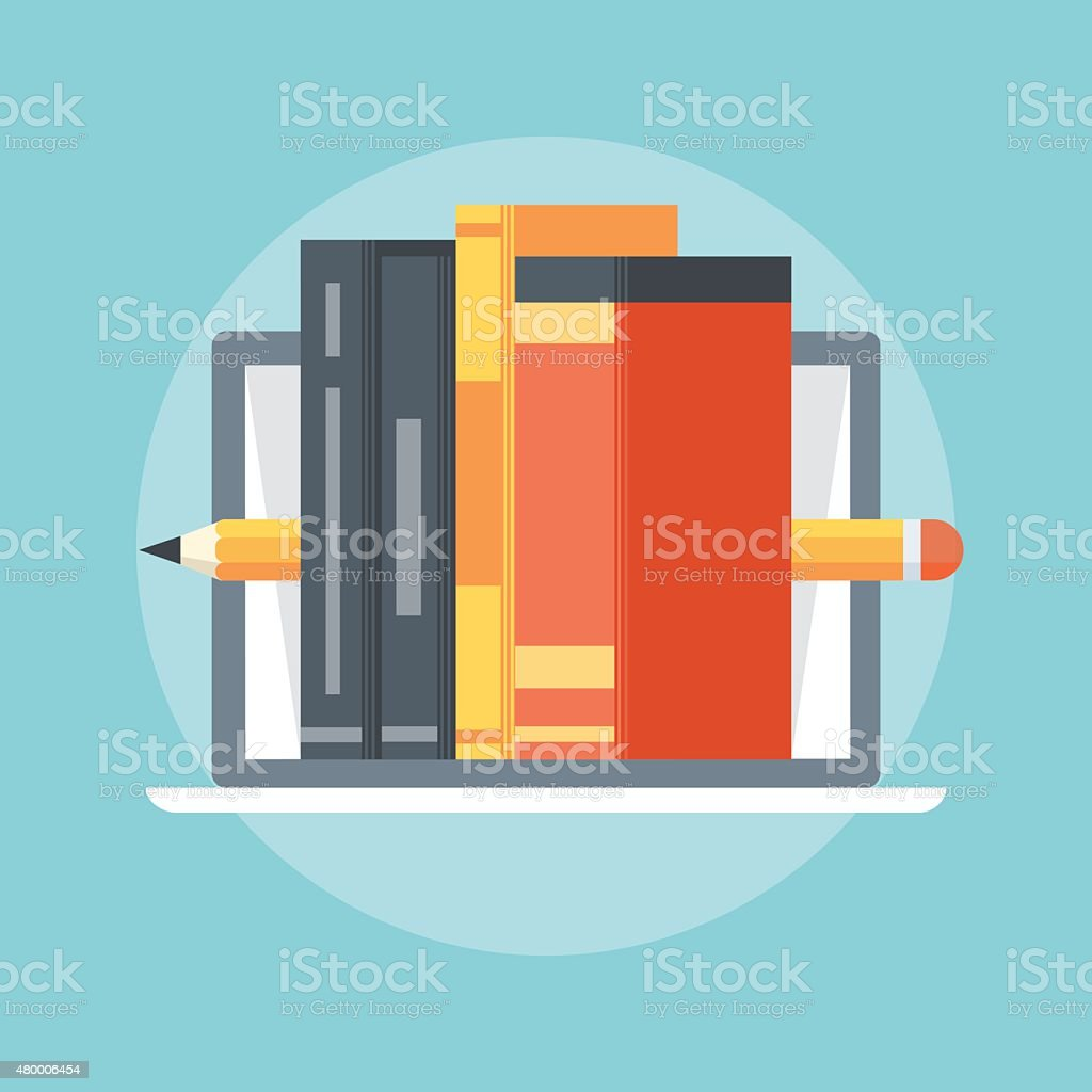 Books, flat style colorful, vector icon vector art illustration