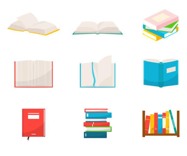 ilustraciones, imágenes clip art, dibujos animados e iconos de stock de libros ilustraciones vectoriales planas establecidas - open book