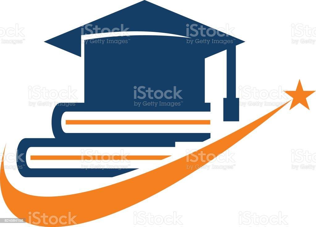 Books Graduation Cap vector art illustration