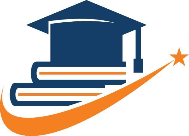 ilustraciones, imágenes clip art, dibujos animados e iconos de stock de casquillo de la graduación de libros - estudiar
