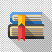 Books icon in flat style with long shadow on transparent background