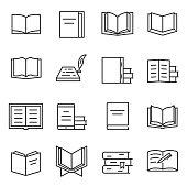 Books icon set.Editable stroke.