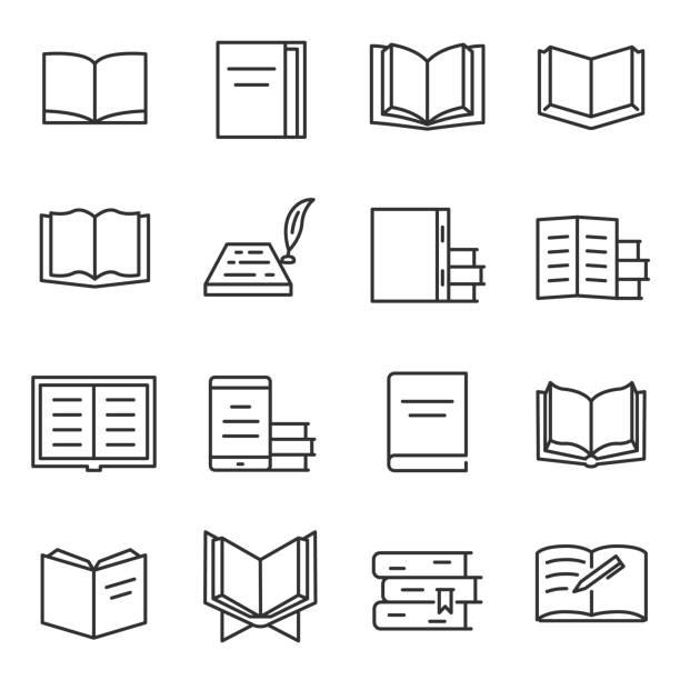 Books icon set.Editable stroke. vector art illustration