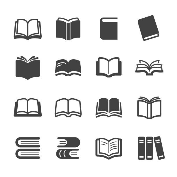 stockillustraties, clipart, cartoons en iconen met icons - acme serie boeken - prentenboek