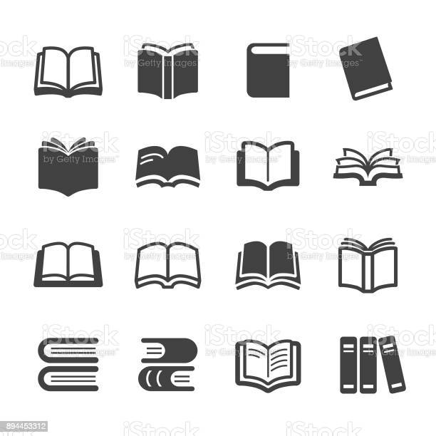 Books Icons Acme Series - Arte vetorial de stock e mais imagens de Aberto