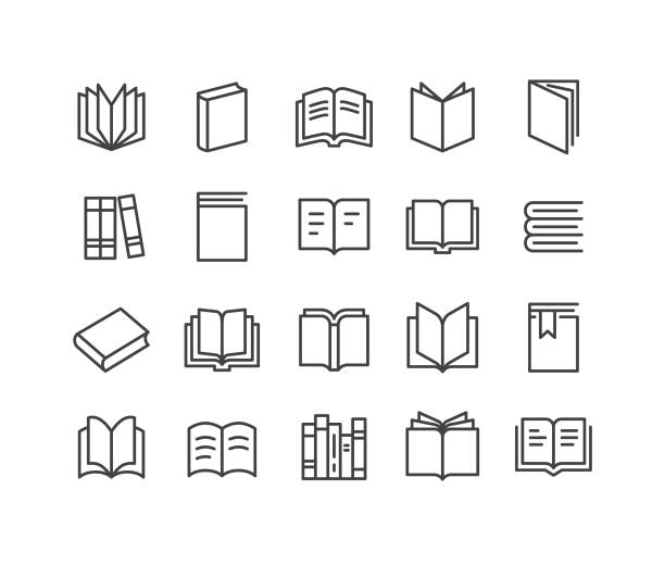 stockillustraties, clipart, cartoons en iconen met boeken icons-classic line serie - prentenboek