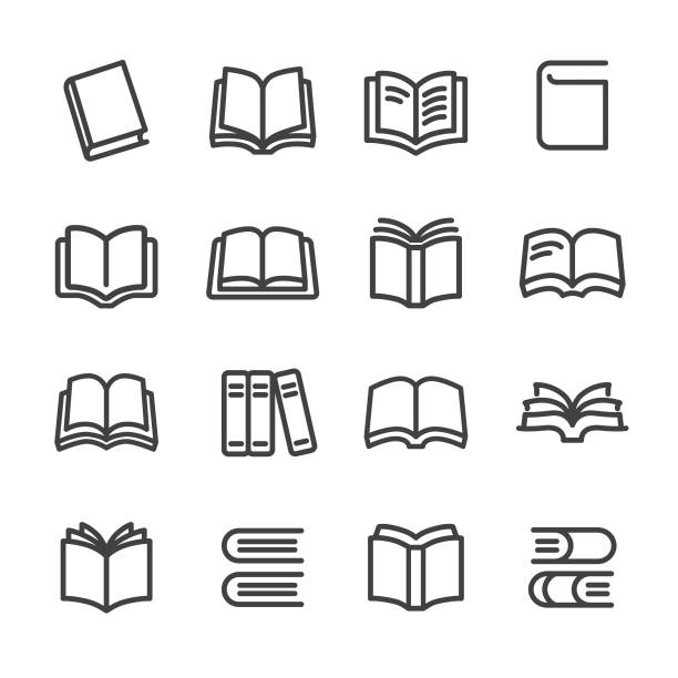 stockillustraties, clipart, cartoons en iconen met boeken icons - line serie - prentenboek