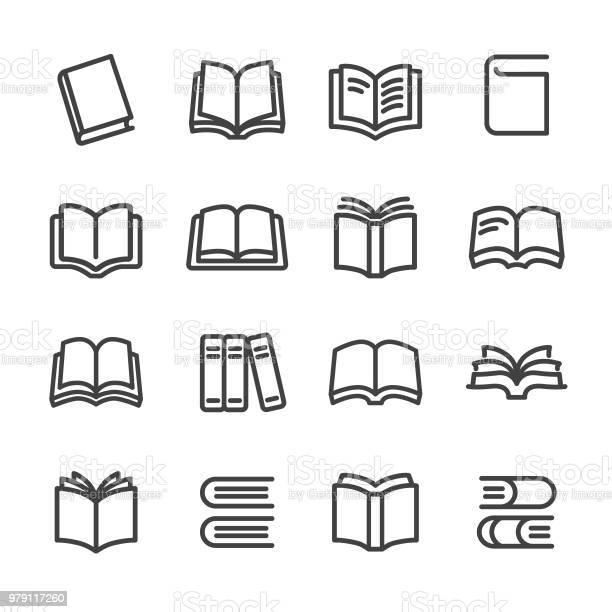 Books Icons Line Series - Arte vetorial de stock e mais imagens de Aberto