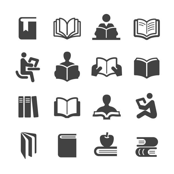 stockillustraties, clipart, cartoons en iconen met icons set - acme serie boeken - prentenboek
