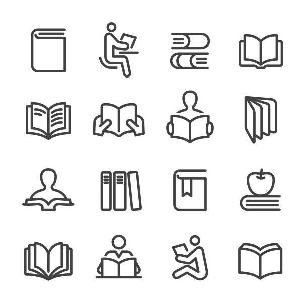 stockillustraties, clipart, cartoons en iconen met boeken icons set - line serie - prentenboek