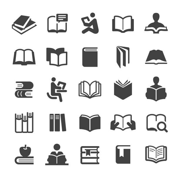 bücher icons set - smart series - buch stock-grafiken, -clipart, -cartoons und -symbole