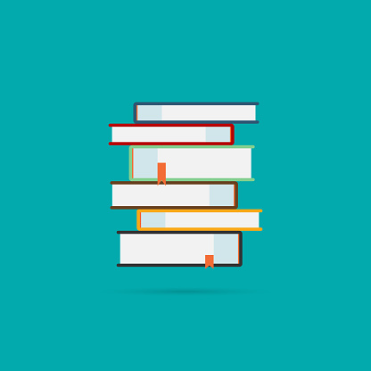 Books icons set with shadow