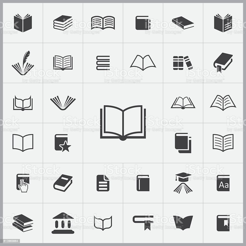 books icons universal set vector art illustration