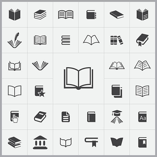 books icons universal set - book symbols stock illustrations