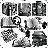 Set of books icons in classic engraving style