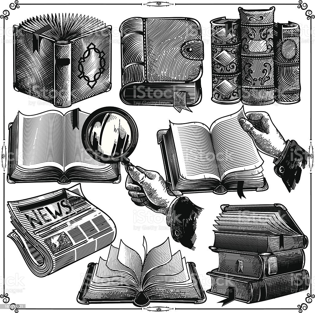 Books icons vector art illustration