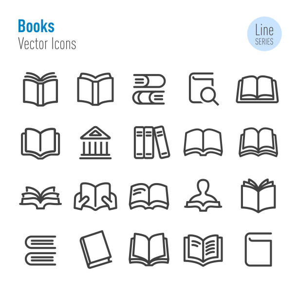 Books Icons - Vector Line Series Books, education, learning, book icons stock illustrations