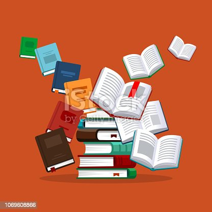 Books illustration. Library research. Scholarship concept. Concepts for web banner and promotional material.
