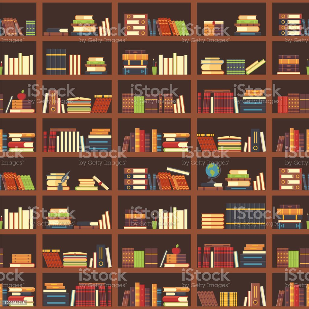 Books In Bookcase Seamless Pattern School Book Science Textbook And Magazines At Bookshelf