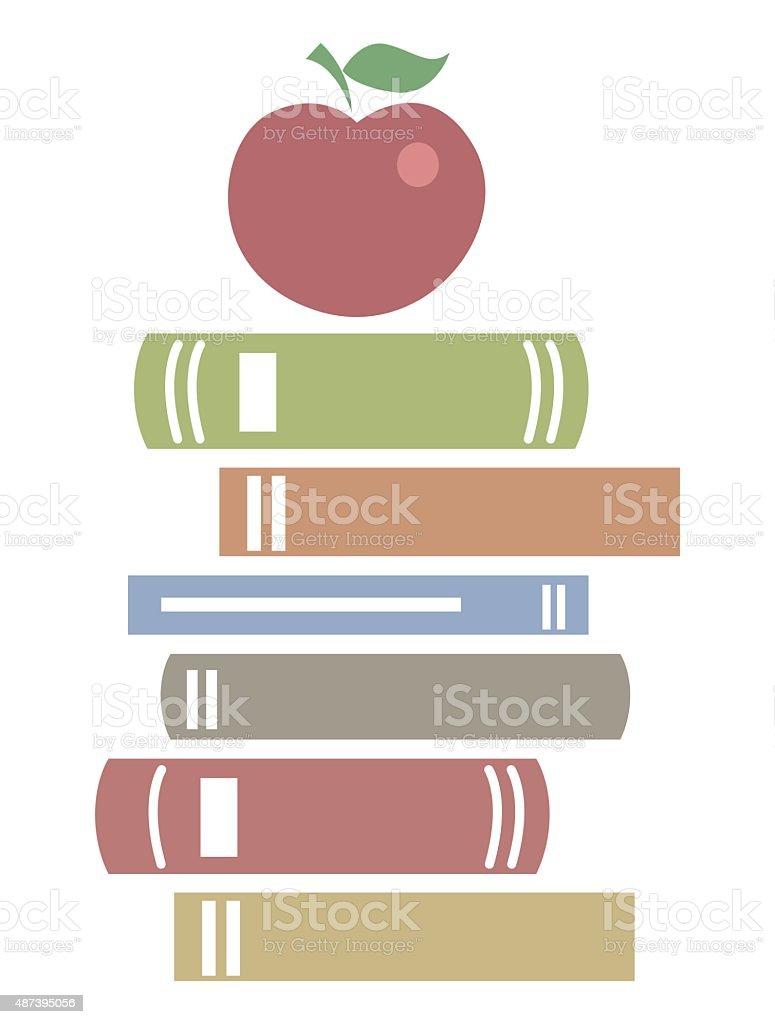 Books in flat design icon vector art illustration