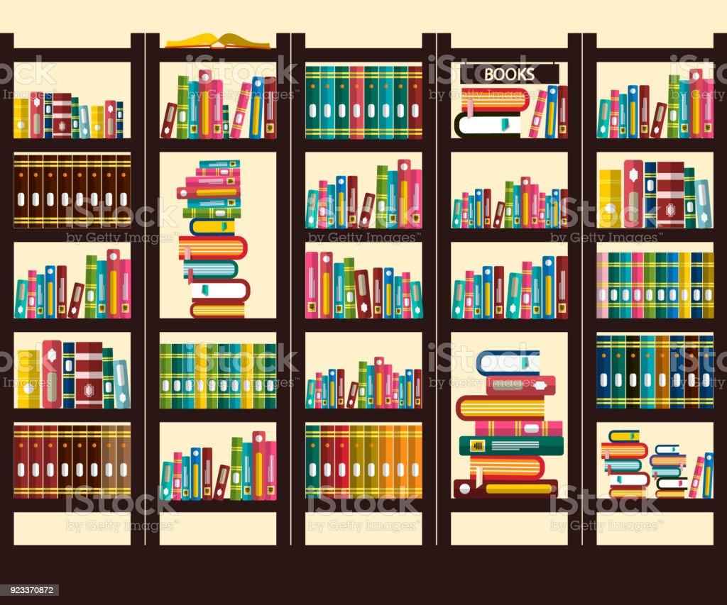 Books in Library vector art illustration