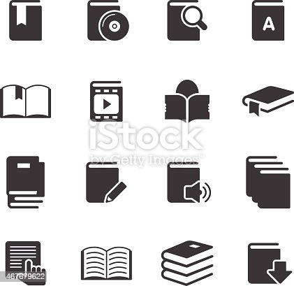 Books Information Icon Outline Set on white background.