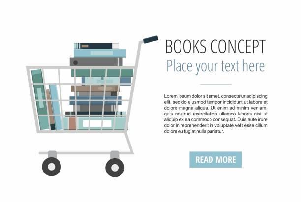 illustrazioni stock, clip art, cartoni animati e icone di tendenza di books inside shopping cart on white. discount books web banner. - banchi scuola