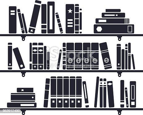 Books on a bookshelf symbols.