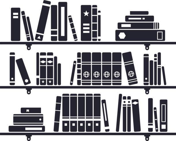 illustrations, cliparts, dessins animés et icônes de livres sur une étagère - bibliothèques