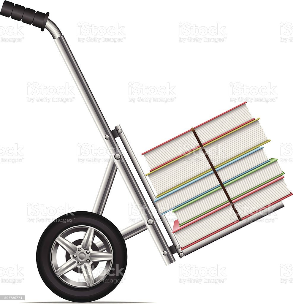 Books on a hand truck royalty-free books on a hand truck stock vector art & more images of abundance