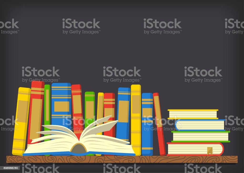 Books on shelf on dark background. vector art illustration