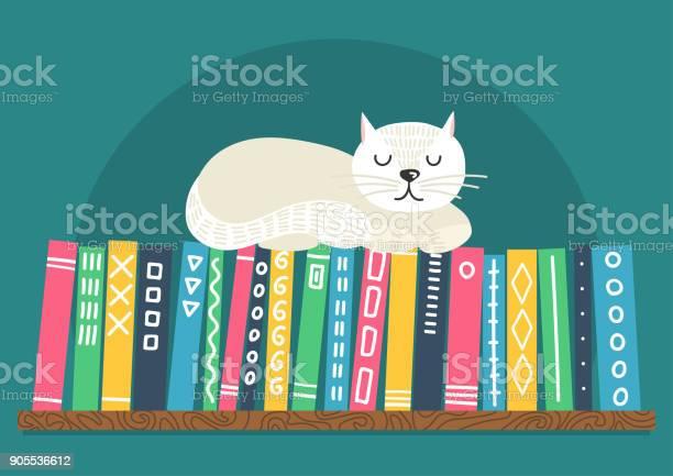 Books on shelf with white cat vector id905536612?b=1&k=6&m=905536612&s=612x612&h=emjjgj6v0ntp26 qvpc38vpvtbkpeq44c uzqzkscy4=