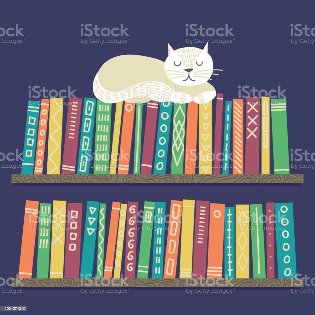 white cat shelves