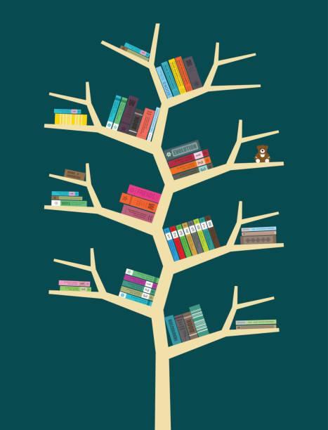 books on the bookshelf, vector vector art illustration