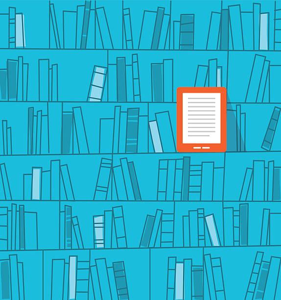books on the shelf, ebook reader vector art illustration