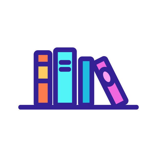 illustrations, cliparts, dessins animés et icônes de livres sur le vecteur d'icône d'étagère. illustration d'illustration isolée de symbole de contour - infographie processus
