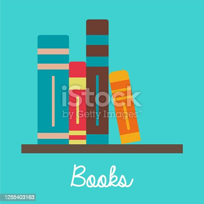 istock Books on the shelf vector colored illustration, school theme, flat design 1255403163