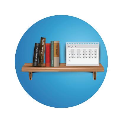 Books on the wooden  bookshelf