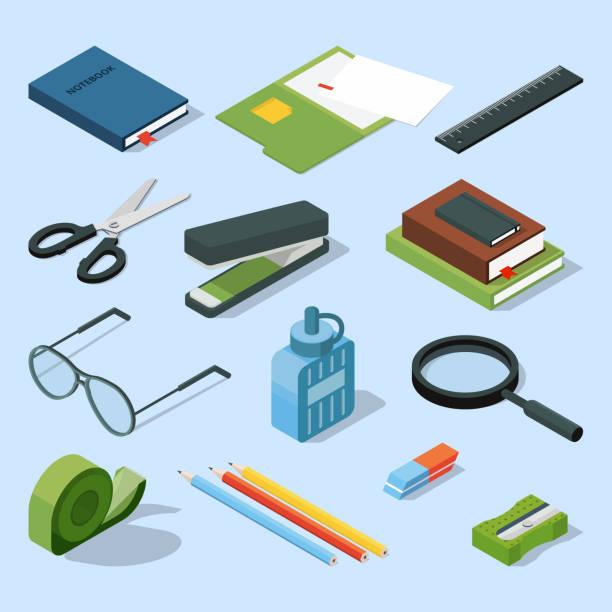 Bücher, Papier-Dokumente in Ordnern und anderen stationären Basiselemente einstellen. Vektor isometrische Büroausstattung – Vektorgrafik