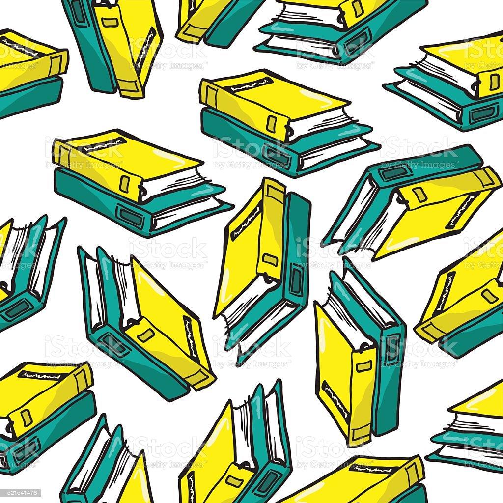 books pattern vector art illustration
