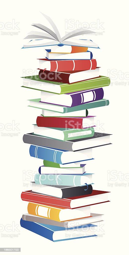 Books Pile vector art illustration