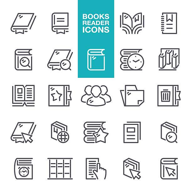 Books Reader Line Icons vector art illustration